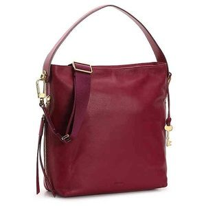 """Fossil Maya hobo bag in """"berry red"""", like new!"""